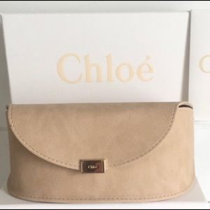 CHLOE BEIGE CREAM SUEDE LEATHER SUNGLASSES CASE